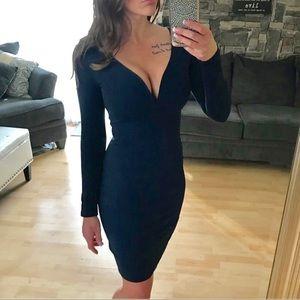 Navy blue long sleeve sweetheart neckline dress